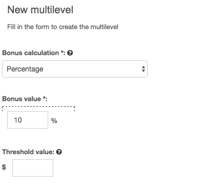 setting up multilevel percentage based on your refer and earn program